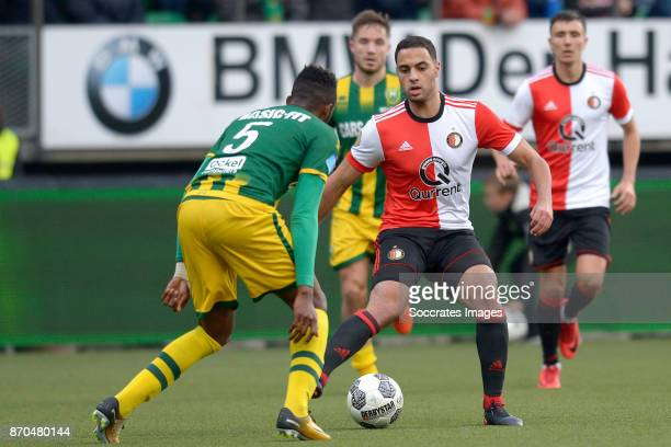 Wilfried Kanon of ADO Den Haag Sofyan Amrabat of Feyenoord during the Dutch Eredivisie match between ADO Den Haag v Feyenoord at the Cars Jeans...