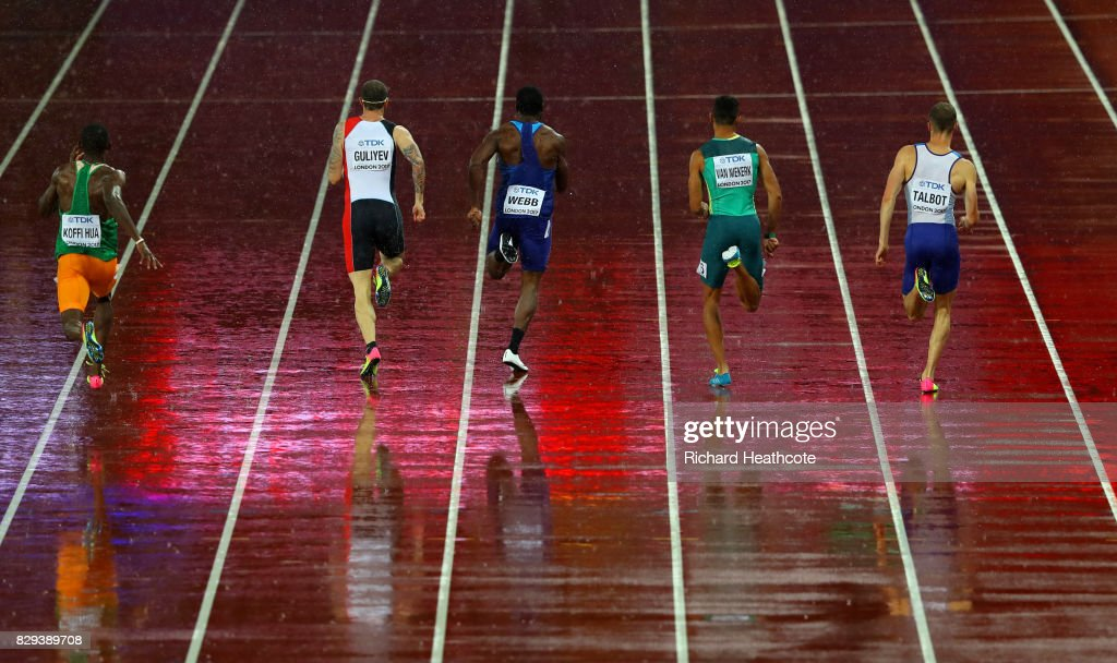 Wilfried Koffi of Cote-Divoire, Ramil Guliyev of Turkey, Ameer Webb of United States, Wayde van Niekerk of South Africa and Daniel Talbot of Great Britain compete in the men's 200m semi-finals during day six of the 16th IAAF World Athletics Championships London 2017 at The London Stadium on August 9, 2017 in London, United Kingdom.