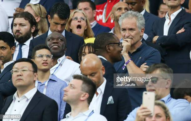 Wilfried Mbappe father of Kylian Mbappe Christian Jeanpierre following the 2018 FIFA World Cup Russia Final match between France and Croatia at...