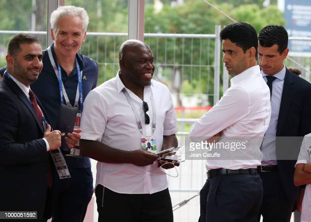Wilfried Mbappe father of Kylian Mbappe of France President of Paris Saint Germain Nasser AlKhelaifi during the 2018 FIFA World Cup Russia Final...