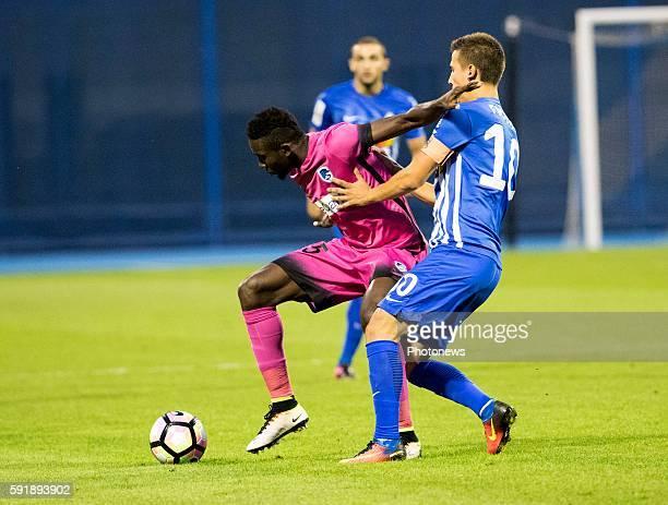 Wilfried Ndidi midfielder of Krc Genk 10 Ivan Fiolic during UEFA Europa League play off round 1st Leg match between Lokomotiva Zagreb and KRC Genk...