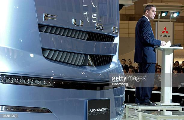 Wilfried Porth President and CEO of Mitsubishi Fuso Truck Bus Corp speaks to the press at the 38th Tokyo Motor Show Tuesday November 2 at Makuhari...