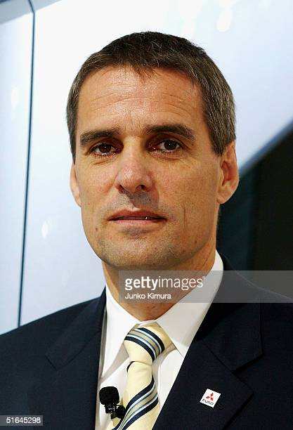 Wilfried Porth the President and CEO of Mitsubishi FUso Truck Bus Corporation attends the 38th Tokyo Motor Show 2004 on November 2 2004 in Makuhari...