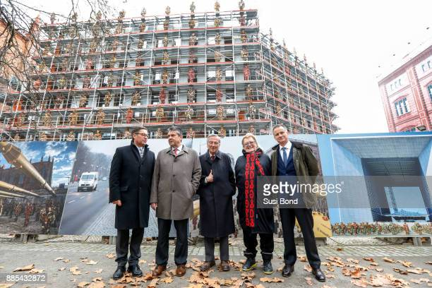 Wilfried Uhr German politician Sigmar Gabriel architect Rafael Maneo artist HA Schult and Uwe Schmitz during the press conference to the openign of...