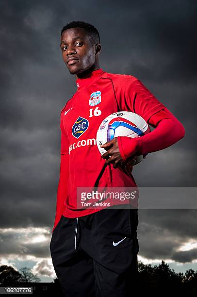 Wilfried Zaha Crystal Palace and England footballer during a portrait session at the club's training ground in Beckenham Kent on November 8 2012