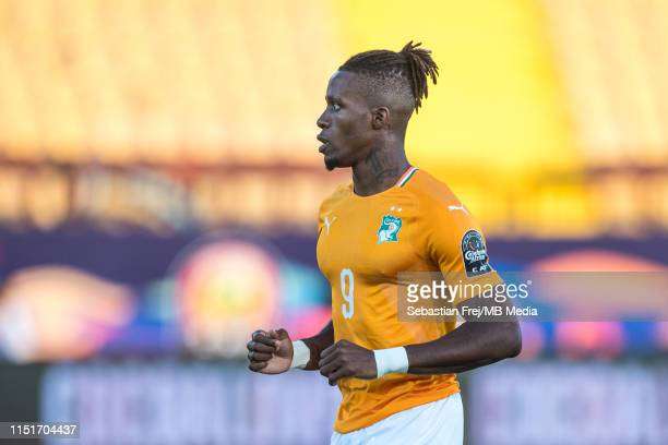 Wilfried Zaha of Cote d'Ivoire looks on during the 2019 Africa Cup of Nations Group D match between Cote d'Ivoire and South Africa at Al-Salam...