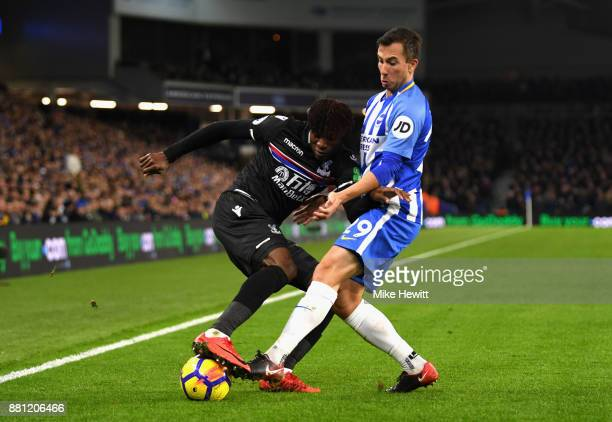 Wilfried Zaha of Crystal Palace and Markus Suttner of Brighton and Hove Albion in action during the Premier League match between Brighton and Hove...