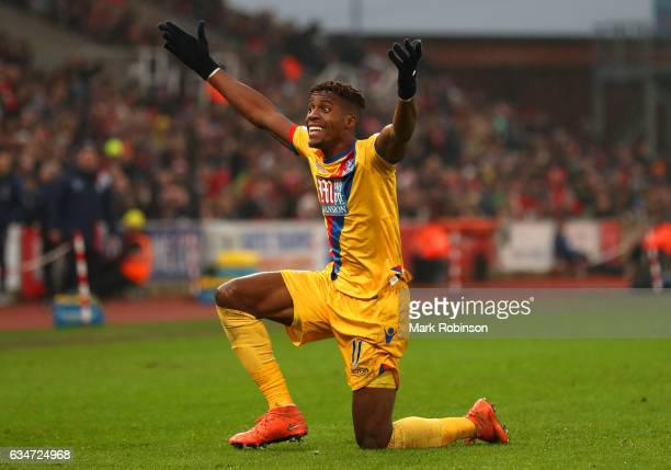 Wilfried Zaha of Crystal Palace appeals to an assistant referee during the Premier League match between Stoke City and Crystal Palace at Bet365...
