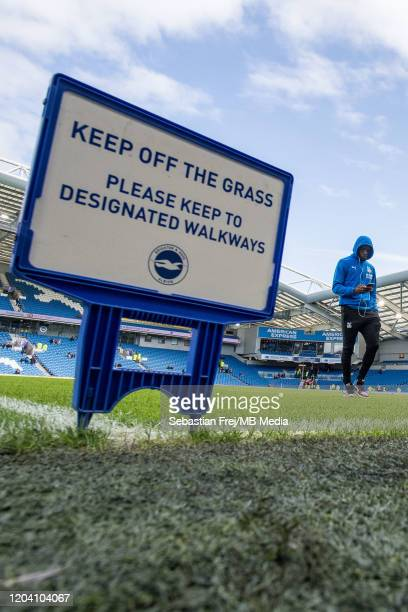 Wilfried Zaha of Crystal Palace arrived the Premier League match between Brighton Hove Albion and Crystal Palace at American Express Community...