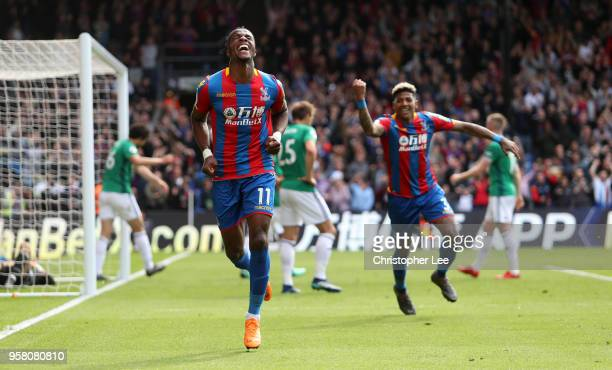 Wilfried Zaha of Crystal Palace celbrates after scoring his sides first goal during the Premier League match between Crystal Palace and West Bromwich...