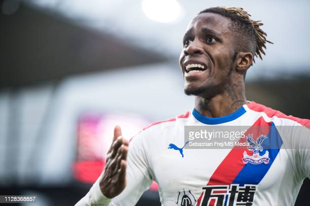 Wilfried Zaha of Crystal Palace celebrate after scoring goal during the Premier League match between Burnley FC and Crystal Palace at Turf Moor on...