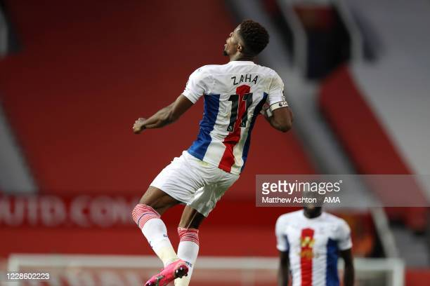Wilfried Zaha of Crystal Palace celebrates after scoring a goal to make it 13 during the Premier League match between Manchester United and Crystal...