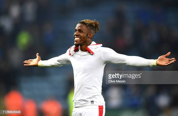 Wilfried Zaha of Crystal Palace celebrates following the Premier League match between Leicester City and Crystal Palace at The King Power Stadium on...