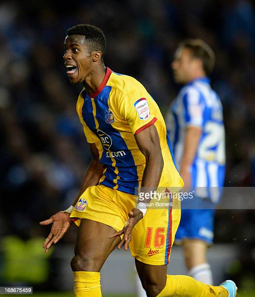 Wilfried Zaha of Crystal Palace celebrates his second goal during the npower Championship play off semi final second leg between Brighton Hove Albion...