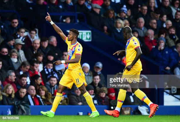Wilfried Zaha of Crystal Palace celebrates scoring his sides first goal during the Premier League match between West Bromwich Albion and Crystal...