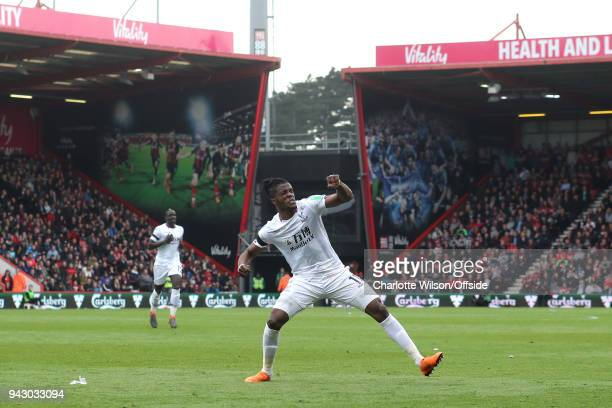 Wilfried Zaha of Crystal Palace celebrates scoring their 2nd goal during the Premier League match between AFC Bournemouth and Crystal Palace at...