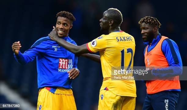 Wilfried Zaha of Crystal Palace celebrates with Mamadou Sakho of Crystal Palace after the Premier League match between West Bromwich Albion and...