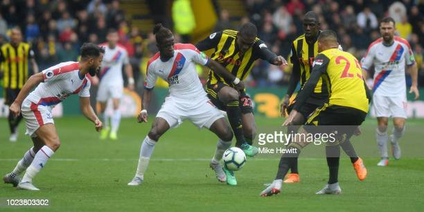 Wilfried Zaha of Crystal Palace challenges for the ball with Christian Kabasele of Watford during the Premier League match between Watford FC and...