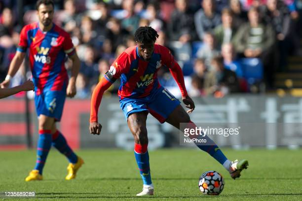 Wilfried Zaha of Crystal Palace controls the ball during the Premier League match between Crystal Palace and Leicester City at Selhurst Park, London...
