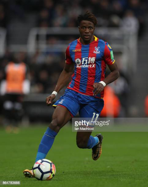 Wilfried Zaha of Crystal Palace controls the ball during the Premier League match between Newcastle United and Crystal Palace at St James Park on...