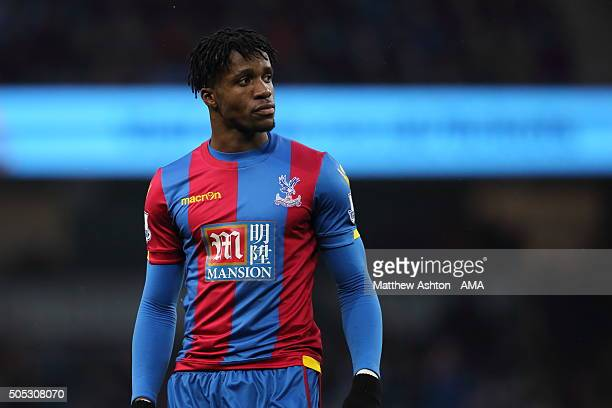 Wilfried Zaha of Crystal Palace during the Barclays Premier League match between Manchester City and Crystal Palace at the Etihad Stadium on January...