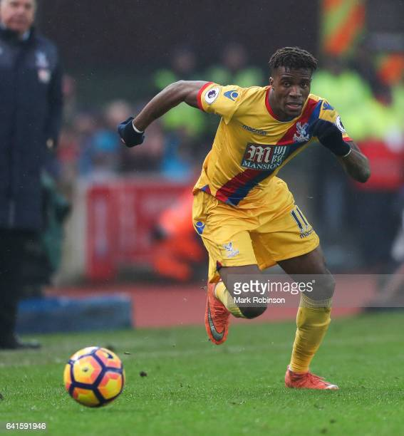 Wilfried Zaha of Crystal Palace during the Premier League match between Stoke City and Crystal Palace at Bet365 Stadium on February 11 2017 in Stoke...