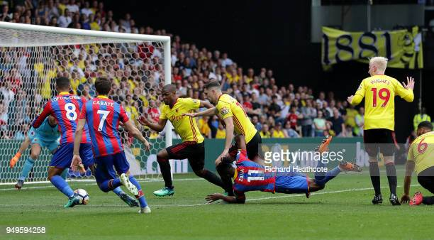Wilfried Zaha of Crystal Palace goes down inside the box during the Premier League match between Watford and Crystal Palace at Vicarage Road on April...