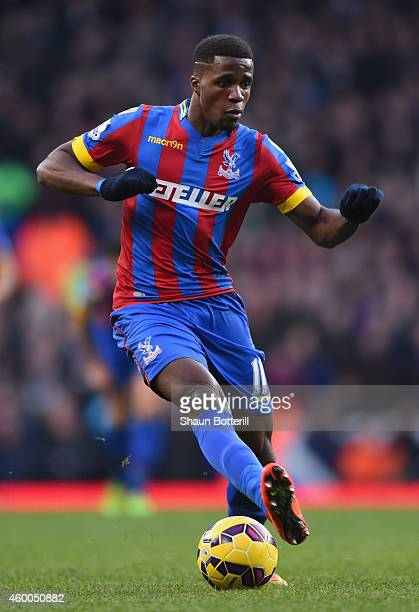 Wilfried Zaha of Crystal Palace in action during the Barclays Premier League match between Tottenham Hotspur and Crystal Palace at White Hart Lane on...
