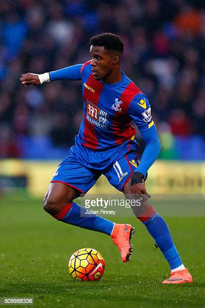 Wilfried Zaha of Crystal Palace in action during the Barclays Premier League match between Crystal Palace and Watford at Selhurst Park on February 13...