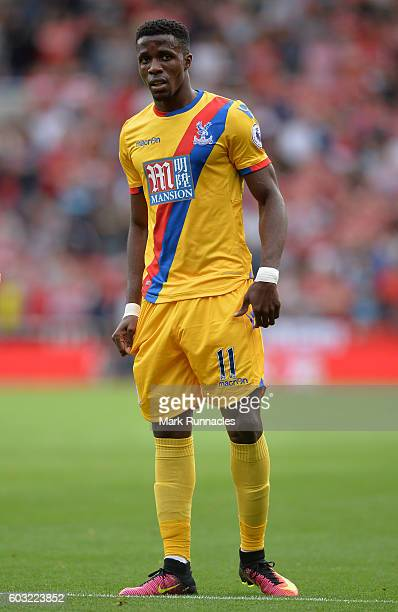 Wilfried Zaha of Crystal Palace in action during the Premier League match between Middlesbrough FC and Crystal Palace FC at Riverside Stadium on...