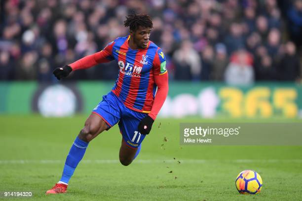 Wilfried Zaha of Crystal Palace in action during the Premier League match between Crystal Palace and Newcastle United at Selhurst Park on February 4...