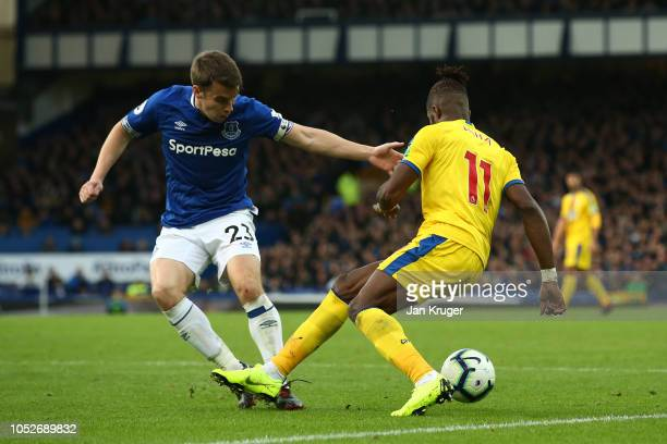 Wilfried Zaha of Crystal Palace is fouled by Seamus Coleman of Everton and the situation leads to a penalty given to Crystal Palace during the...