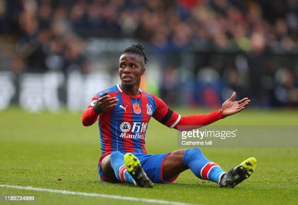 Wilfried Zaha of Crystal Palace looks on during the Premier League match between Crystal Palace and Leicester City at Selhurst Park on November 03...