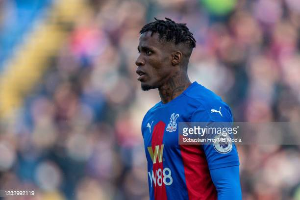 Wilfried Zaha of Crystal Palace looks on during the Premier League match between Crystal Palace and Arsenal at Selhurst Park on May 19, 2021 in...