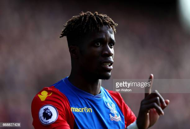 Wilfried Zaha of Crystal Palace looks on during the Premier League match between Crystal Palace and Leicester City at Selhurst Park on April 15 2017...