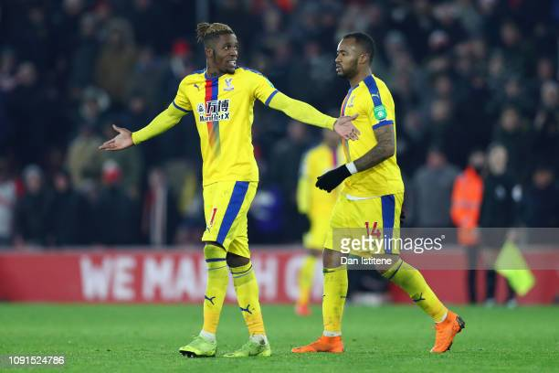 Wilfried Zaha of Crystal Palace reacts after being shown a redcard by Match Referee Andre Marriner during the Premier League match between...