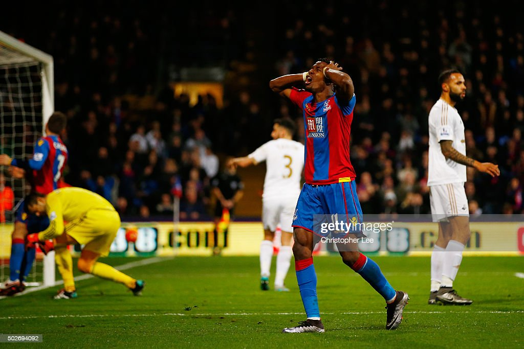 Wilfried Zaha of Crystal Palace reacts after missing a chance during the Barclays Premier League match between Crystal Palace and Swansea City at Selhurst Park on December 28, 2015 in London, England.