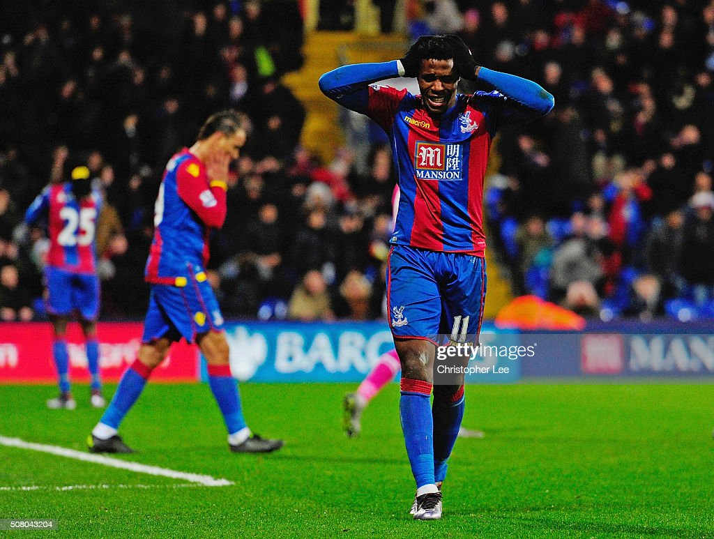 Wilfried Zaha of Crystal Palace reacts after missing a chance during the Barclays Premier League match between Crystal Palace and A.F.C. Bournemouth at Selhurst Park on February 2, 2016 in London, England.
