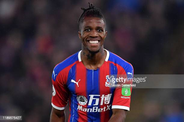 Wilfried Zaha of Crystal Palace reacts during the Premier League match between Crystal Palace and Liverpool FC at Selhurst Park on November 23 2019...