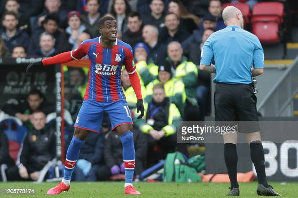 Wilfried Zaha of Crystal Palace reacts during the Premier League match between Crystal Palace and Watford at Selhurst Park London on Saturday 7th...