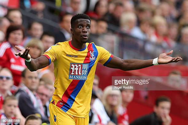 Wilfried Zaha of Crystal Palace reacts during the Premier League match between Middlesbrough and Crystal Palace at Riverside Stadium on September 10...