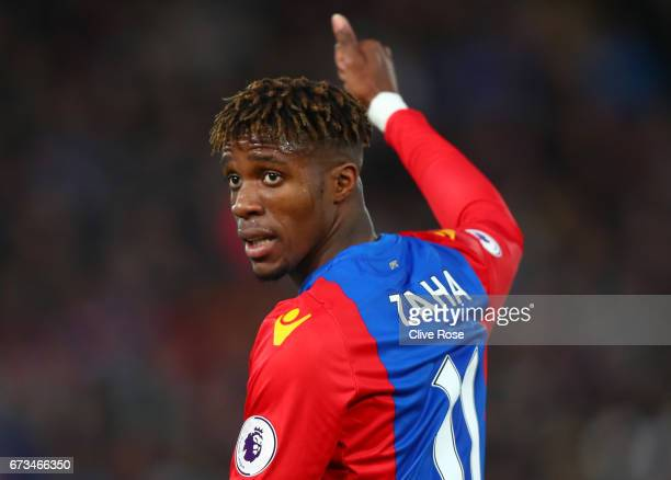 Wilfried Zaha of Crystal Palace reacts during the Premier League match between Crystal Palace and Tottenham Hotspur at Selhurst Park on April 26 2017...