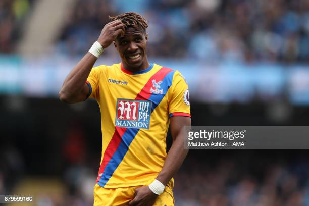 Wilfried Zaha of Crystal Palace reacts during the Premier League match between Manchester City and Crystal Palace at Etihad Stadium on May 6 2017 in...