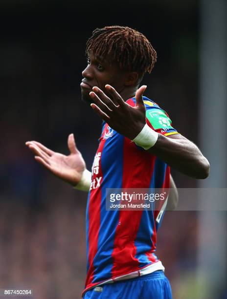 Wilfried Zaha of Crystal Palace reacts during the Premier League match between Crystal Palace and West Ham United at Selhurst Park on October 28 2017...
