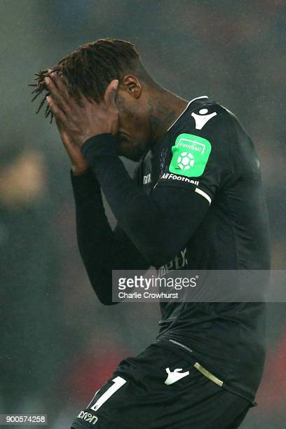 Wilfried Zaha of Crystal Palace reacts during the Premier League match between Southampton and Crystal Palace at St Mary's Stadium on January 2 2018...