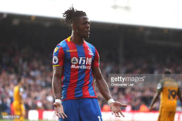 Wilfried Zaha of Crystal Palace reacts during the Premier League match between Crystal Palace and Brighton and Hove Albion at Selhurst Park on April...