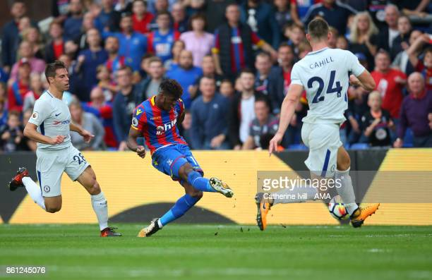 Wilfried Zaha of Crystal Palace scores a goal to make it 21 during the Premier League match between Crystal Palace and Chelsea at Selhurst Park on...