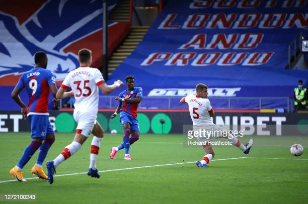 Wilfried Zaha of Crystal Palace scores his team's first goal during the Premier League match between Crystal Palace and Southampton at Selhurst Park...