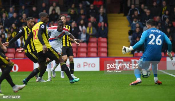 Wilfried Zaha of Crystal Palace scores his team's first goal past Ben Foster of Watford during the Premier League match between Watford FC and...