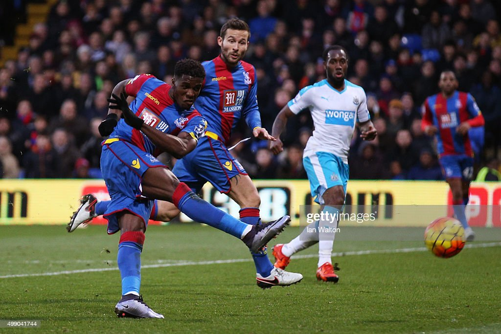 Wilfried Zaha of Crystal Palace scores his team's third goal during the Barclays Premier League match between Crystal Palace and Newcastle United at Selhurst Park on November 28, 2015 in London, England.